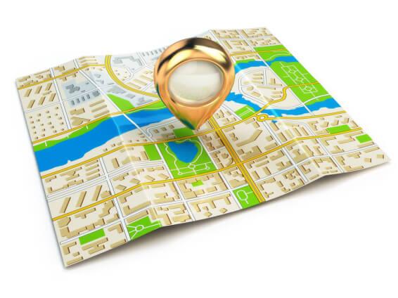 Landkarte mit Ortungspunkt